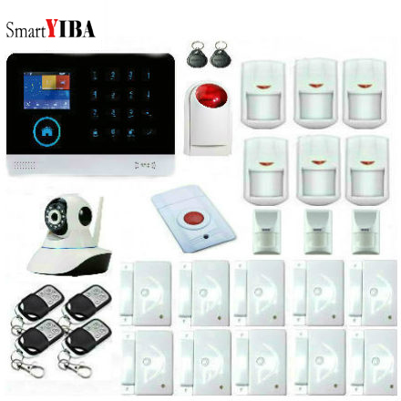 SmartYIBA wifi GSM Alarm System Voice Prompt Wireless Infrared Sensor Metal Remote Control Kit SIM SMS Alarm