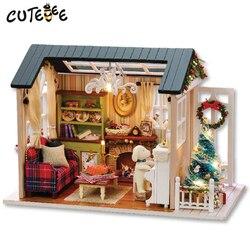 CUTEBEE Миниатюрный Кукольный Дом DIY кукольный домик с мебелью деревянный дом, игрушки для детей праздник раз Z009