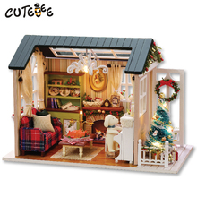 Doll House Møbler Diy Miniature Dust Cover 3D Wooden Miniaturas Dollhouse Leker til Christmas Gift Holiday Times Z009