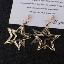 2018 New Sale five-pointed star Trendy Stars Clip Earrings For Women Ear Clip on Earrings Without Piercing Statement Jewlery(China)