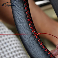 Extremely Soft Auto Leather DIY Car Steering Wheel Covers With Needles And Thread Interior Accessories 38cm