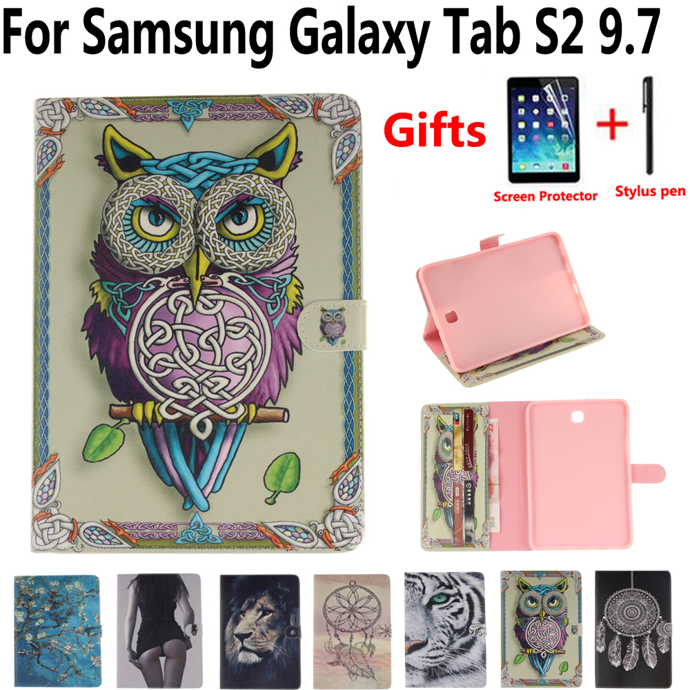 все цены на Tablet Protective Cover Case for Samsung Galaxy Tab S2 9.7 T810 T813 T815 T819 Owl Pu Leather Soft Tpu Flip Smart Stand Case онлайн