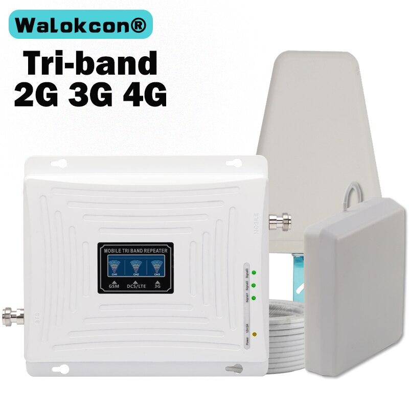 GSM 3G 4 Amplificador De Sinal 900G 1800 2100 Tri-Band Booster 4 3 2G G G LTE 1800 Telefone Celular Amplificador de Sinal Celular Repetidor de Sinal