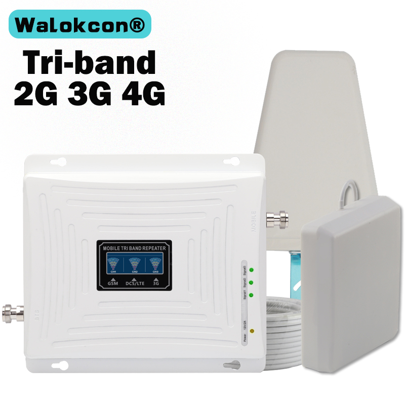 GSM 3G 4G Signal Amplifier 900 1800 2100 Tri-Band Booster 2G 3G 4G LTE 1800 Amplifier Signal Cellular Cell Phone Signal Repeater
