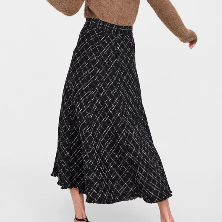 Un 2019 Vêtements Laine 1 Couleurs taille Bord 4 Nouveau Cardigan Plaid Avec Printemps Haute Jupe Et Mélange Une Black Tailles Femmes UrUOqP0w