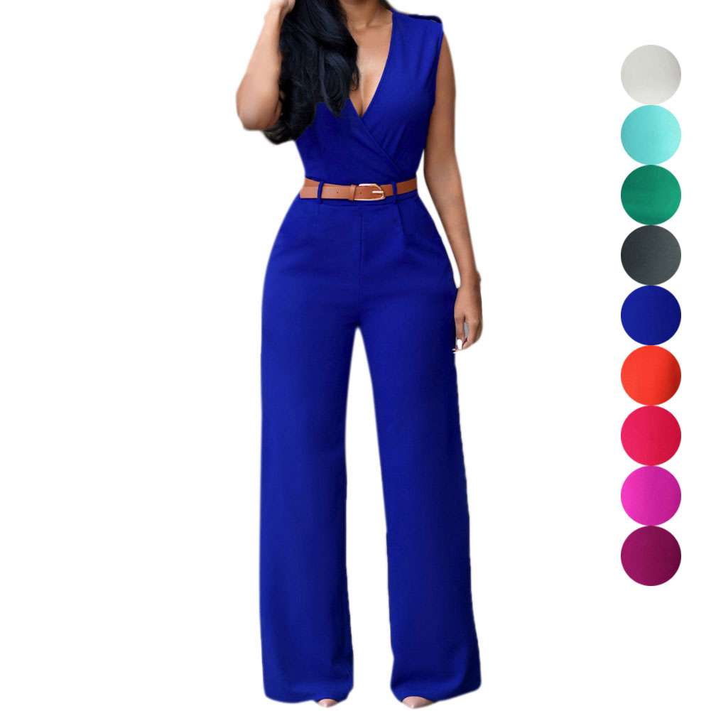 Women's Clothing Fashion Summer Women Jumpsuit With Belt Sexy V Neck Solid Color Sleeveless High Waist Wide Leg Romper Ladies Jumpsuits H