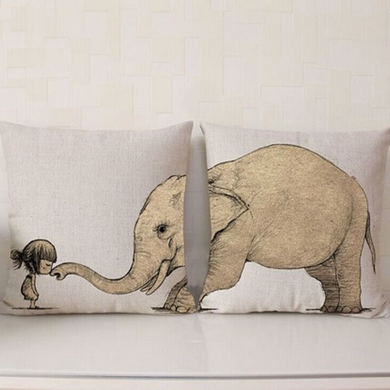 Wild Animals Cotton Pillow Case