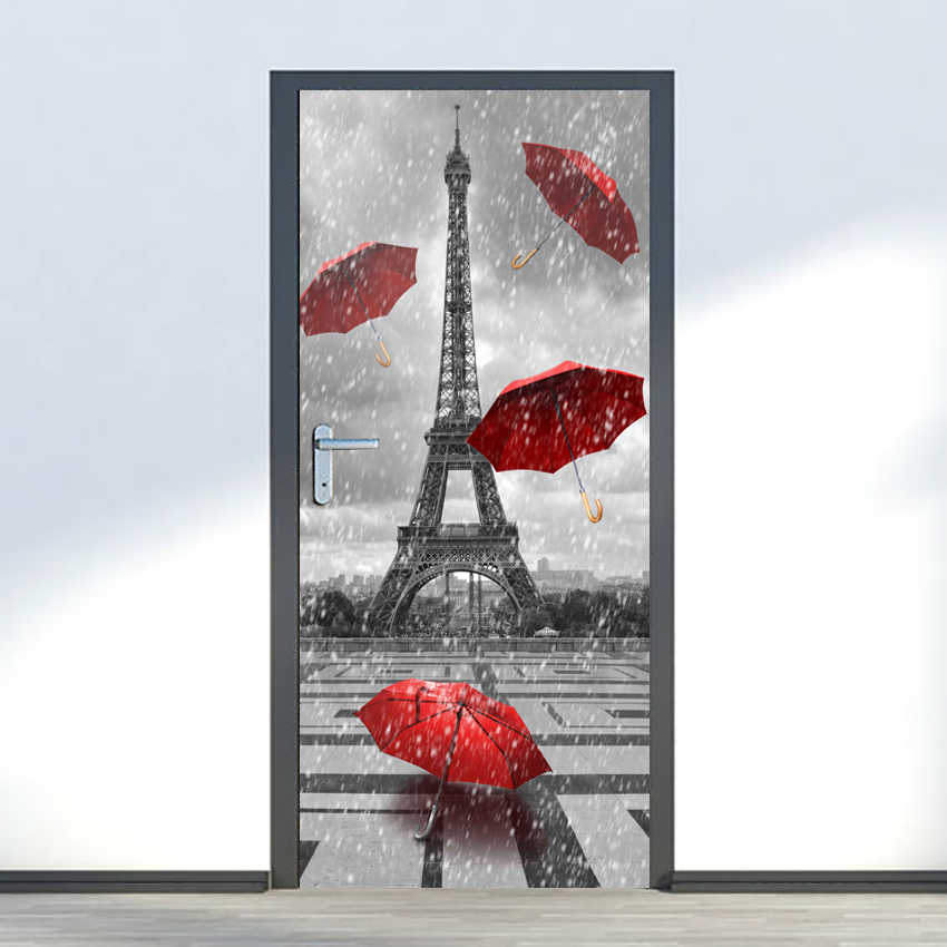 Free shipping DIY 3D Door Sticker Wall Sticker Mural Paris Eiffel Tower Rain Red Umbrellas Print Corridor Decoration,77cm 90cm