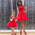 Sexy Open Back Red Short Prom Dress Robe De Soiree Lace Mini Mother Daughter Dresses Vestido De Festa Fast Shipping Party Gowns