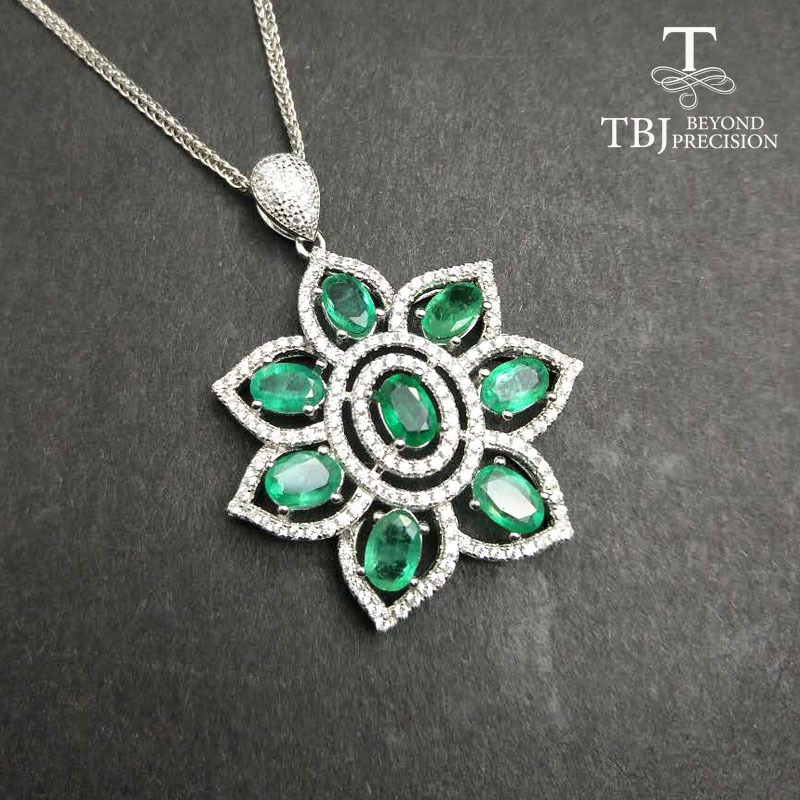 TBJ 100 natural 4ct zambia emerald big pendant necklace with chains in 925 Sterling silver gemstone
