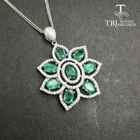 Tbj, 100% натуральный 4ct Замбия изумруд большой кулон ожерелье с цепями в 925 серебро gemstone Fine Jewelry как лучший подарок