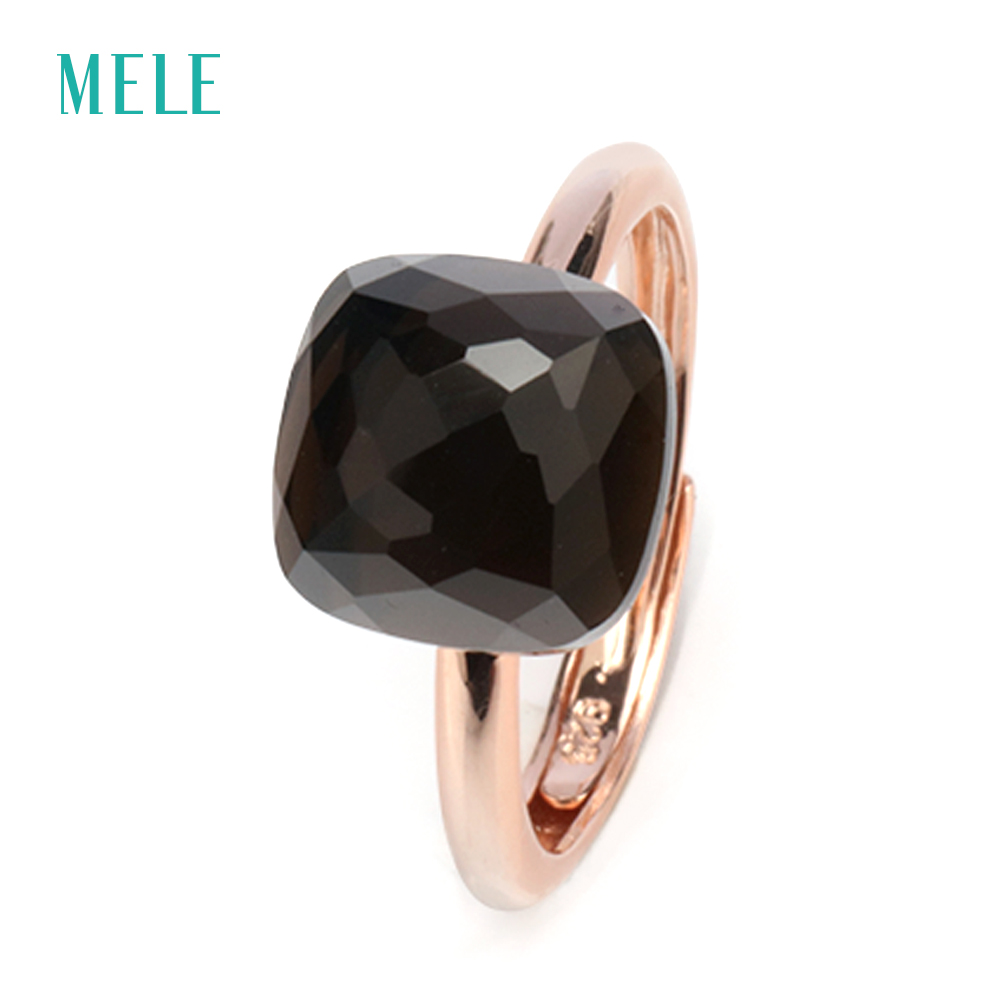 MELE Natural smoky quarts silver ring, cushion 10mm*10mm, deep black-brown color and professional cutting skill, fine jewelry