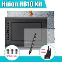 Huion H610 Professional Graphics Tablet dessin numérique Kit + Parblo deux - Finger Glove + 10 Extra Pen Nibs + Film de protection + étui