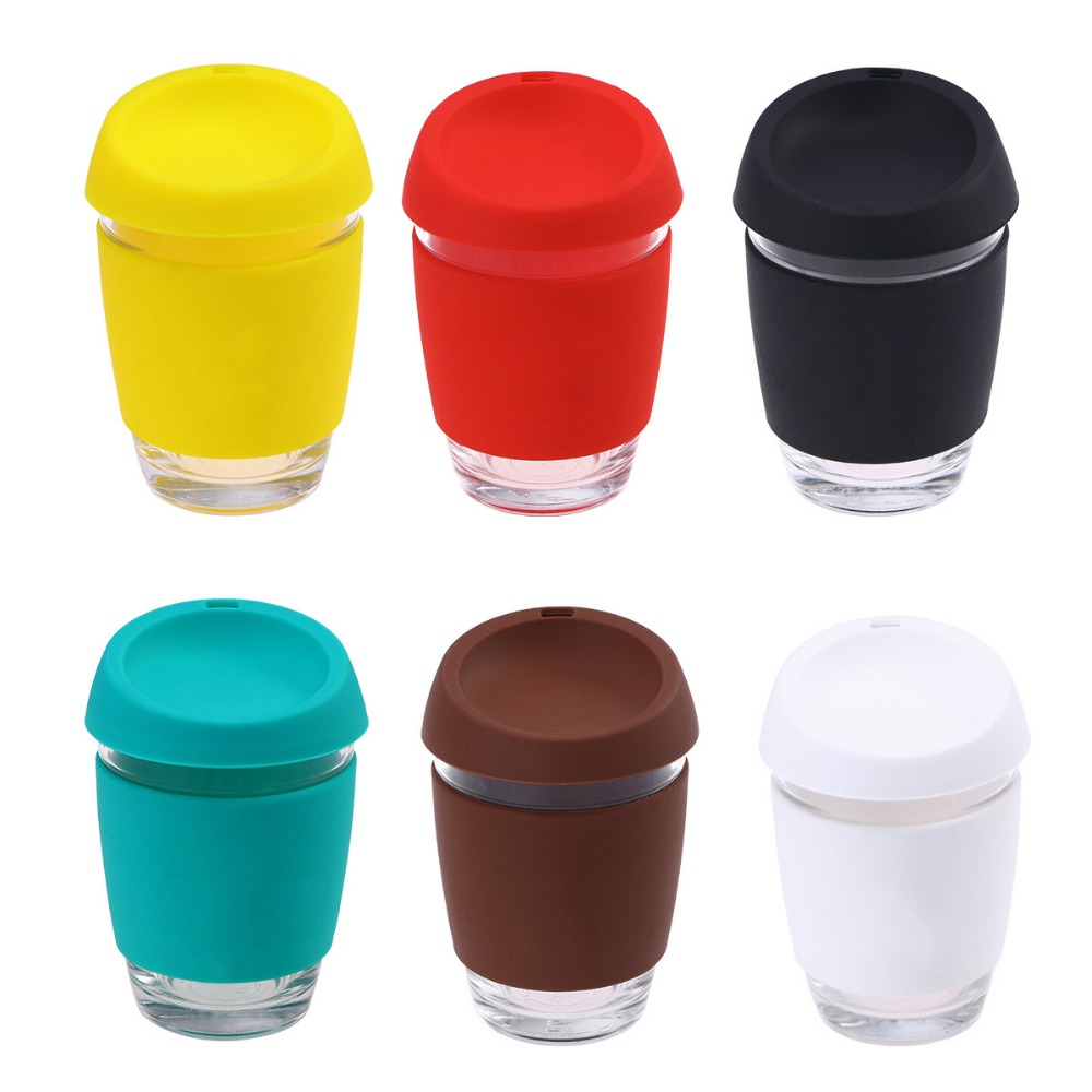 1 Pc Glass Coffee Mug Travel Coffee Cup With BPA Free Silicone Lid and Sleeve For Water Coffee Drinking(12oz) Кубок