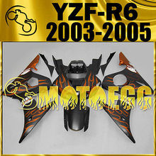 Motoegg Injection Fairings Fit FOR YAMAHA YZF-R6 YZF R6 03-05 Orange Flames #Y64M44   Motorcycle plastic