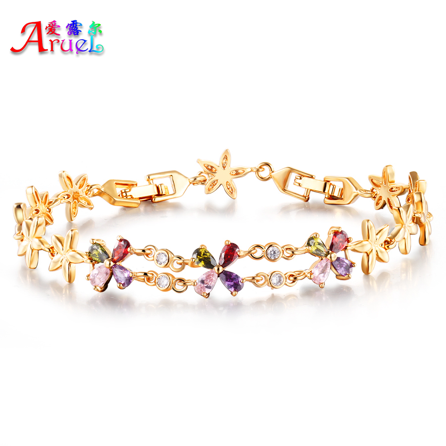 Online get cheap flower girls bracelets aliexpress alibaba fashion jewelry gold plated flower charm bracelet colorful austrian crystals zircon bracelets amp bangles for dhlflorist Image collections