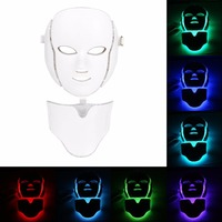 Светодиодный 7 Цвета свет микротоковая маска для лица машина фотонной терапии омоложения кожи лица шеи маска отбеливающая электрическое ус