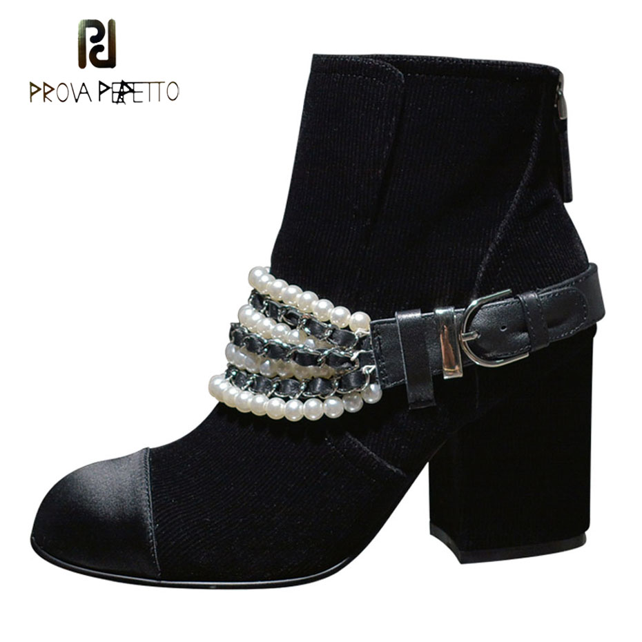Prova Perfetto fashion pearls chain round toe women ankle boots black flock square heels females shoes buckle zippers short boot black round toe side zippers heavy bottomed increased inner 12 cm slope heels naked boots discount women fashion wedges booties