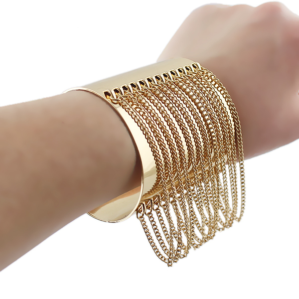 Gold Color Cuff Bracelet Punk Summer Style Pulseira Ouro Wide Chain Tel Bangles In From Jewelry Accessories On Aliexpress