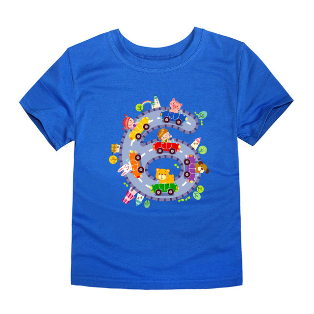 SMHONG Brand 2-14y Cartoon 6 Car Children T Shirts Cotton Kids T-shirt Printed Tees For Boys Girls Top Baby Clothing