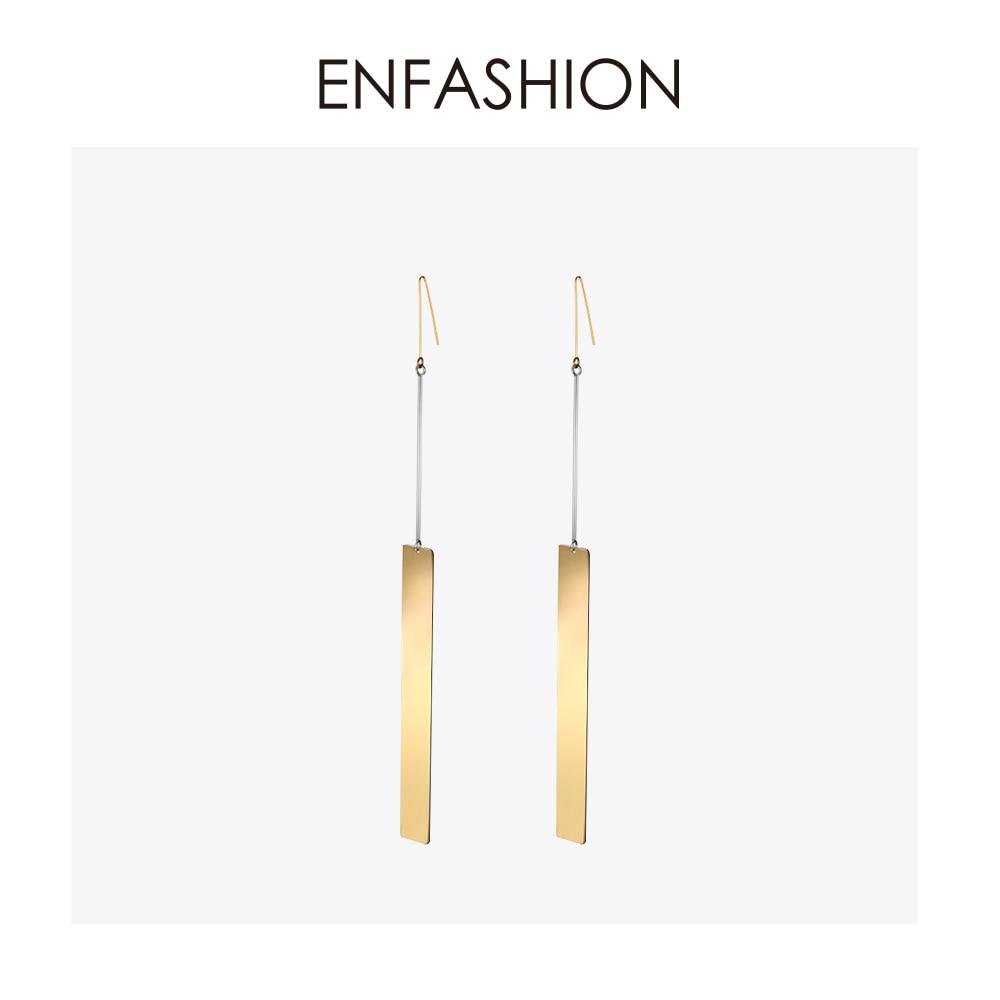 Enfashion groothandel vintage lange bar oorbellen drop earring matte goudkleurige oorbellen roestvrij stalen oorbellen voor vrouwen sieraden