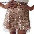 Realshe nuevo mini falda 2017 mujeres del otoño saias cintura media un line lentejuelas corto saia faldas mujer faldas 2 colores