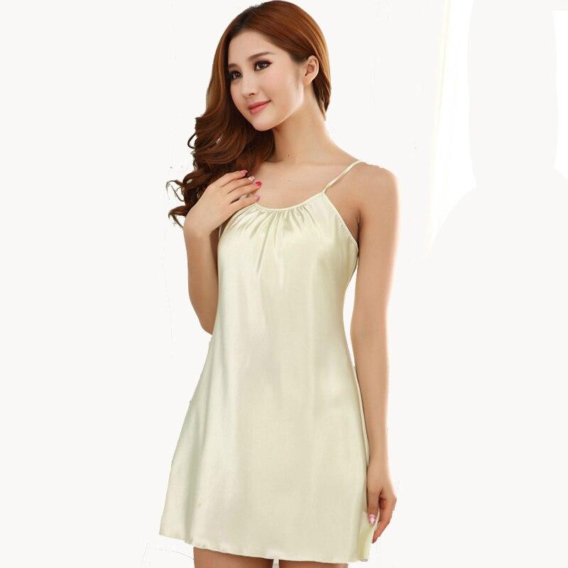 Silk Solid Women Sleepwear Ladies Sexy Lingerie Sleepdress Babydoll Nightdress   Nightgown     Sleepshirts   Homewear 15 color 4 Sizes