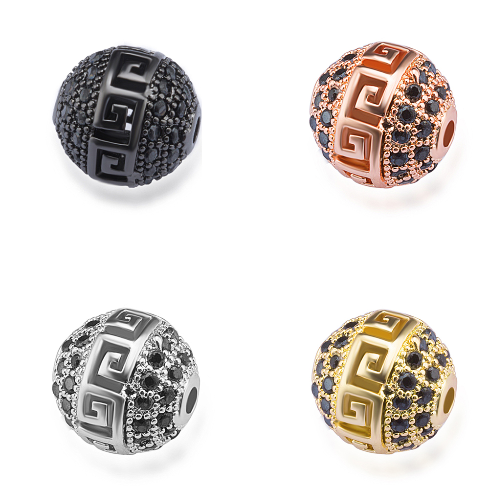 high quality round ball beads micro pave cz copper jewelry bracelet accessories diy jewelry necklace bracelet making hole beads