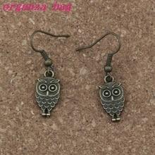 Bird Owl Earrings Silver Fish Ear Hook 24pairs/lot Chandelier Jewelry 9x35mm Antique bronze A-232es