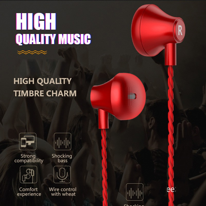Heavy Bass Metal Flat Earphone 35mm Wire Headset Earbuds In-ear Stereo Headset Earphone With Mic Fone De Ouvido Audifonos