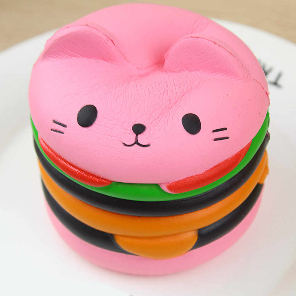 Squishy Kawaii Jumbo Slow Rising Cat Toys Slow Rising Hamburger Antistress Ball Funny Squeeze Food Squishy Scented Gift FE09d