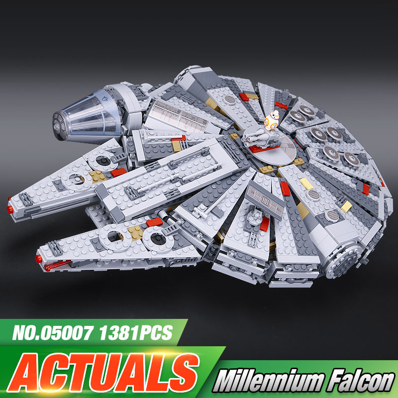 ФОТО New LEPIN 05007 1381pcs Building Blocks Star Wars Force Awakens Millennium Falcon Model Kits Rey BB-8 10467
