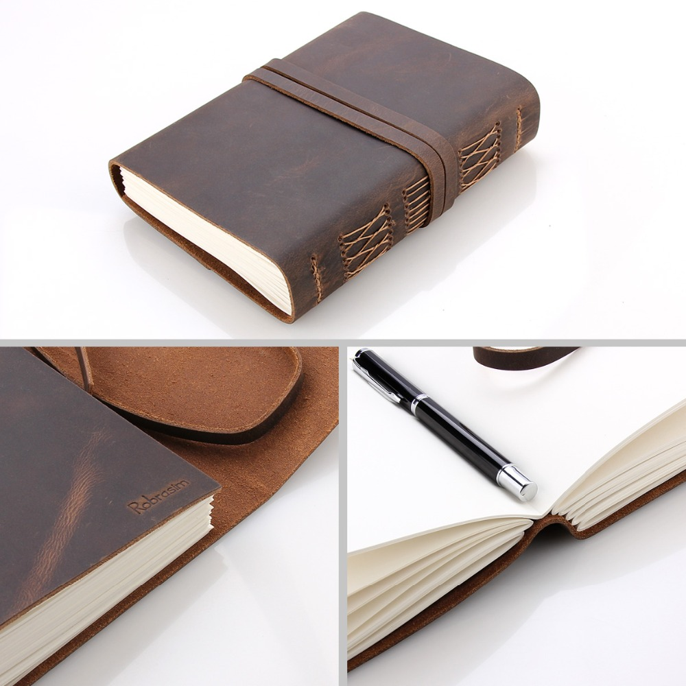 Image 5 - Leather Journal Travel Notebook, Handmade Vintage Leather Bound Writing Notebook for Men & Women, Unlined Travel Journal to Writ-in Notebooks from Office & School Supplies