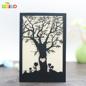 free shipping 50set inc24 Red/Gold Wedding Invitation Card Hollow Laser Cut Wedding Party Guest Invitation Card tree card
