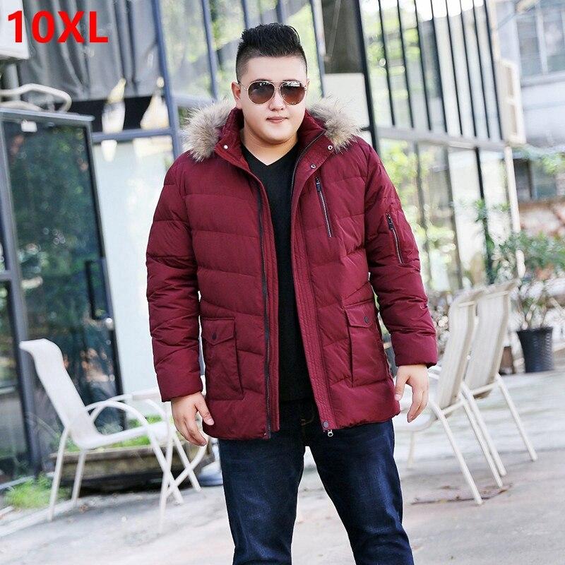 Зимние большие размеры пуховая куртка мужской большой код отец можно отстегнуть крышка волосы воротник большие размеры резьбы куртка 10x 9XL ...