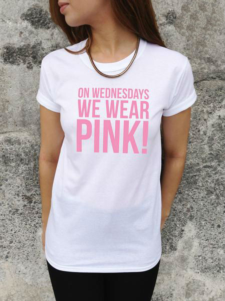 On wednesdays we wear pink letters print women tshirt for Wear my t shirt