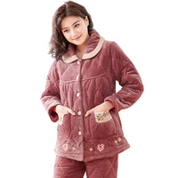 Winter Thick Coral Fleece Quilted Women Pajamas Sets of Sleep Tops & Bottoms Female Flannel Warm Sleepwear Thermal Home Clothing