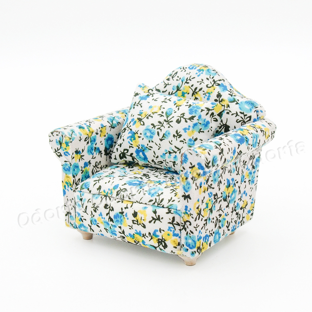 Astounding Us 8 14 9 Off Odoria 1 12 Miniature Vintage Single Person Sofa Blue With Cushion Dollhouse Furniture Accessories In Furniture Toys From Toys Lamtechconsult Wood Chair Design Ideas Lamtechconsultcom