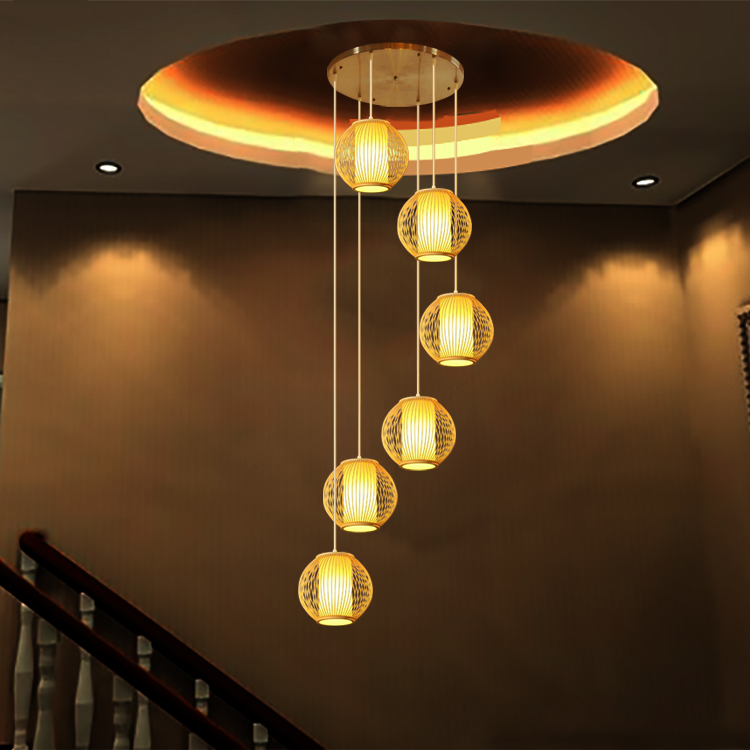 rotary modern simple pastoral lamps Stairs Bamboo double staircase pendant lamp spiral pendant lights restaurant lamp zb56 new arrival modern chinese style bamboo wool lamps rustic bamboo pendant light 3015 free shipping