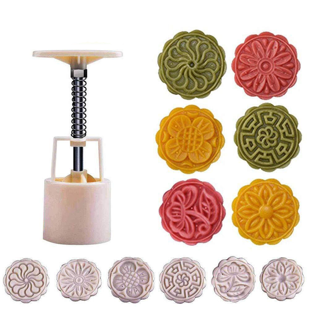 New 6 Style Round Flower Mooncake Mold Hand Pressure Fondant Moon Cake Decoration Tools Cookie Cutter Pastry Baking Tool C524 image