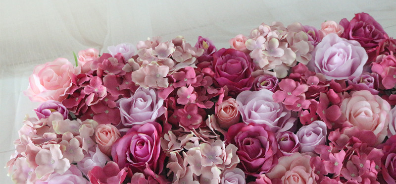 Flone Wedding Decoration Silk Roses Hydrangea Flowers Wall Wedding Background Decoration Arch Flower Row Decoration (13)