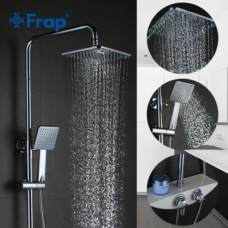 FRAP wall mounted bathroom Thermostatic Faucets bathtub shower faucet mixer tap waterfall cold&hot mixer shower faucets FLD1196 traditional faucet chrome thermostatic bathroom faucets plastic handshower dual holes shower mixer tap