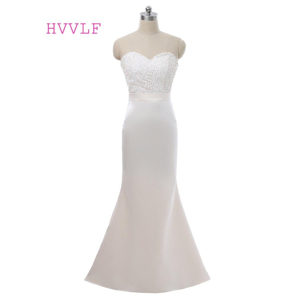 Beige 2019 pas cher robes de demoiselle d'honneur sirène chérie étage longueur Satin paillettes Long moins de 50 robes de mariée