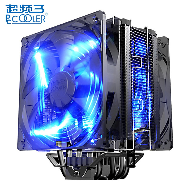 Pccooler Donghai X6 Quiet 4 Pin CPU Cooler Cooling Fan Blue LED Copper Computer PC Fan for AMD AM4 for Intel LGA 775 115X 1151 3pin 12v cpu cooling cooler copper and aluminum 110w heat pipe heatsink fan for intel lga1150 amd computer cooler cooling fan