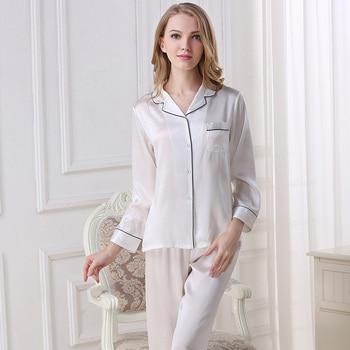 100% Genuine Silk Pajamas Two-Piece Women Pyjama Sets Pure Silk Pajama Sleepwear Female Tops+Pants Satin Silk Pijama T8002 a-line