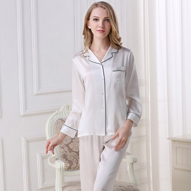 100% Genuine Silk Pajamas Two-Piece Women Pyjama Sets Pure Silk Pajama Sleepwear Female Tops+Pants Satin Silk Pijama T8002