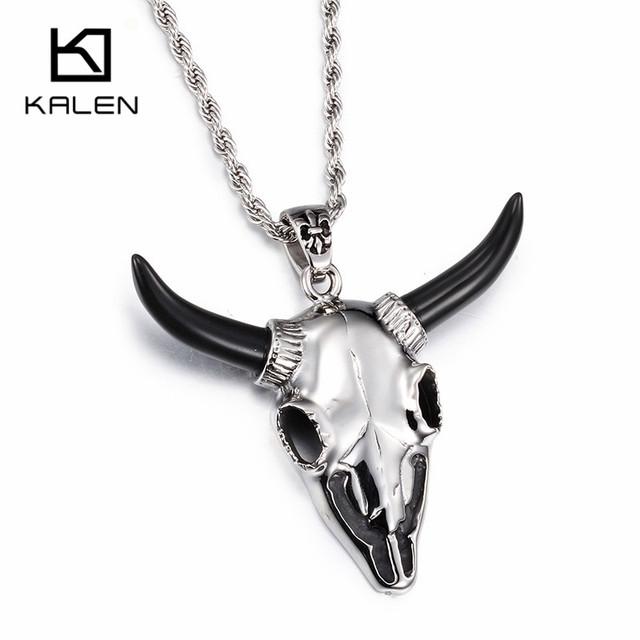Kalen negro cuerno ovejas cabra colgante collar para hombres niños de alta pulido acero inoxidable 316l animal charm cadena larga collares