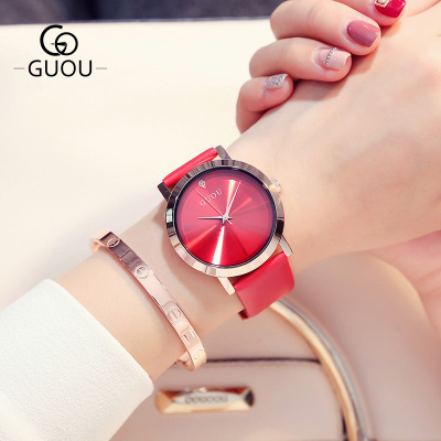 New Luxury Brand GUOU Fashion Quartz Women Watches bayan saatleri Genuine Leather Watch Simple Women Wristwatch reloj mujer women guou luxury watch bling genuine leather strap full crystal diamond quartz ladies wristwatch mujer relojes casual watches