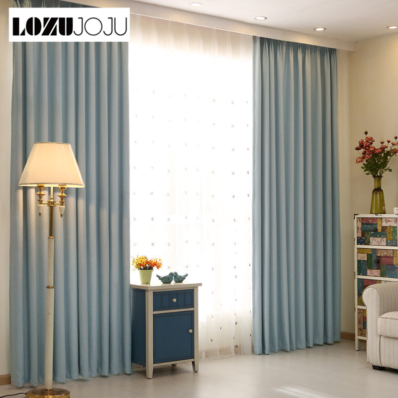 LOZUJOJU curtains colors custom shade Modern color multiple curtain ready blackout living curtain room treatments solid window