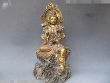 Оптовая продажа фабрики храм Тибет Народная классическая Старый Бронзовый Gild Ру Йи Кван-Инь Статуя Сидеть на Дракона